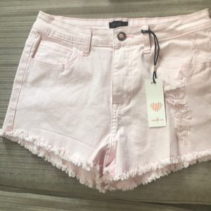 pink denim cutoff shorts